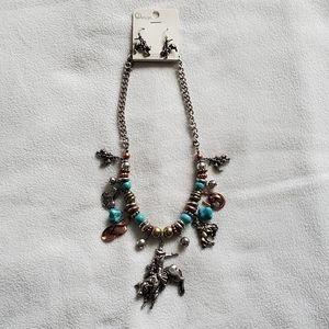 Cowboy Western Charm Necklace Earrings Set